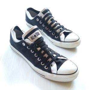 CONVERSE • double tongue unisex black white shoes